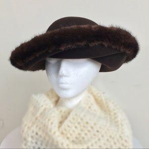 Brown Lite Felt Winter Hat Mink Church